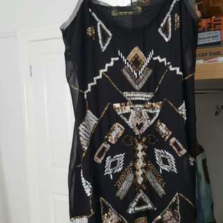 Sequined black top or dress size 12