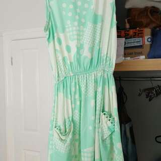 Mint Green And White Summer Dress Size 10