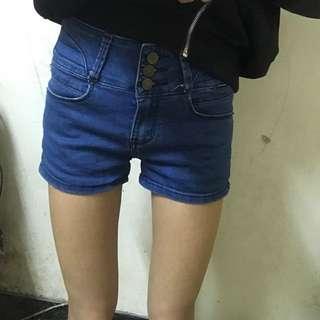 深藍三排扣高腰牛仔褲