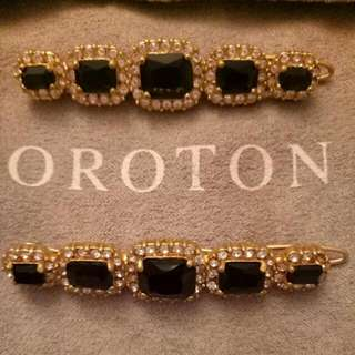 Brand New 2 Piece Oroton Gold, Clear & Black Bridal / Wedding / Formal / Hair Clips / Pins With Dustbag