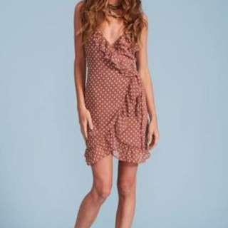 Tan Polka Dot Wrap Dress