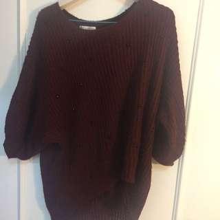酒紅色寬版毛衣
