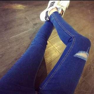 High Waist Jeans With Holes