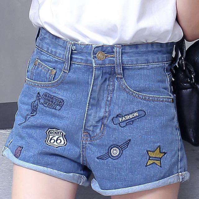 25ffed9ce270 359 tumblr korean embroidered iron patch denim cuffed shorts ...