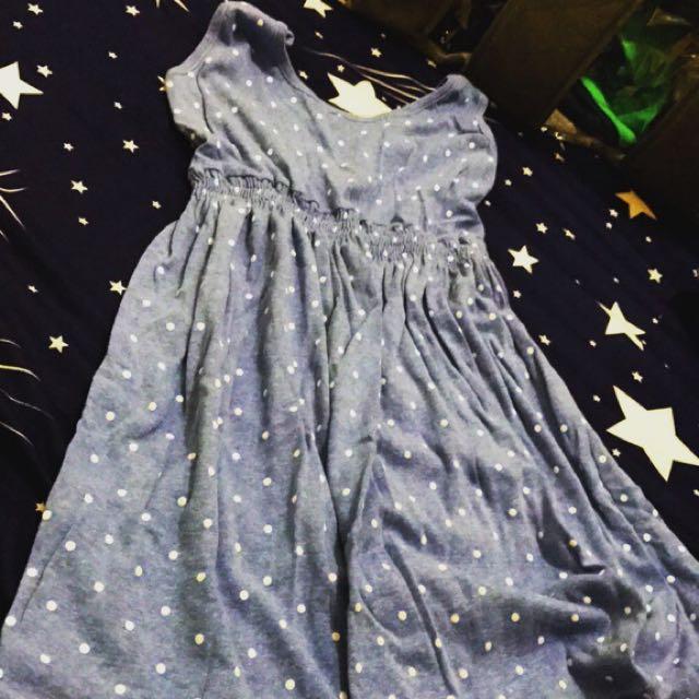 二手·圓點洋裝縮口連身裙寬肩帶短裙傘狀
