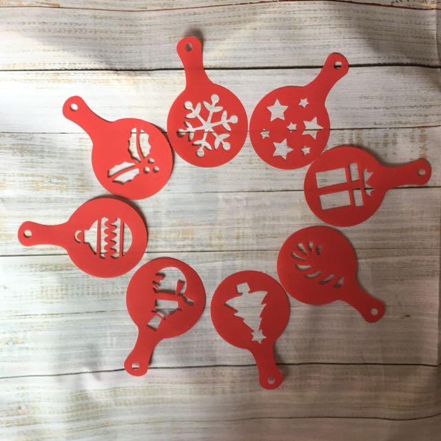 聖誕節拿鐵、卡布奇諾、杯子蛋糕圖案模板