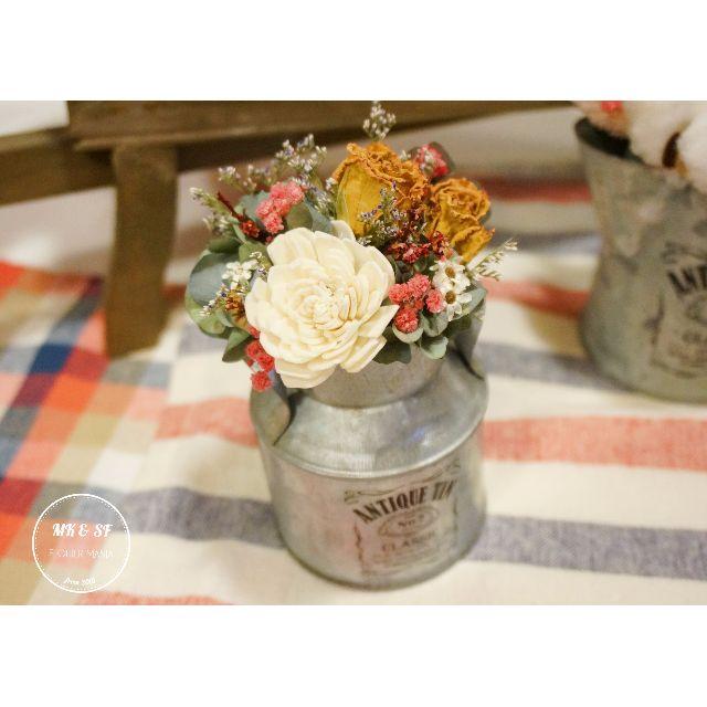 *玫瑰繡球牛奶鐵罐花禮* 乾燥花 花藝