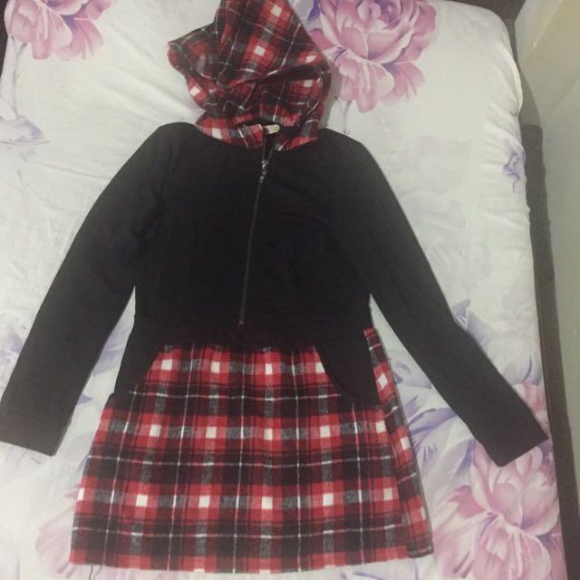 Black & Red Long Sleeve Dress With Hood