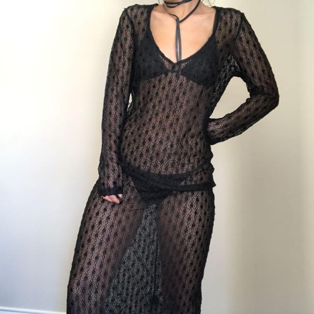 Black See Through Maxi Dress