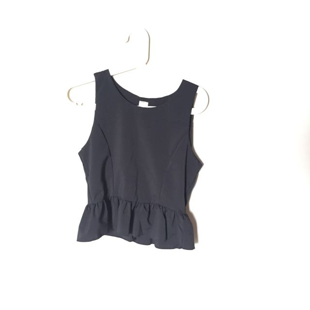 Black Sleeveless Peplum Top