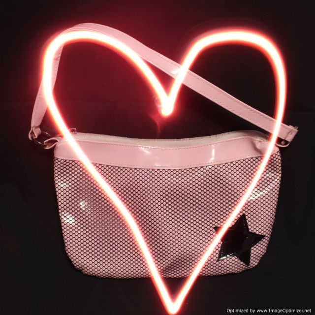 Brandless Pink Plastic with Black Mesh & Star Purse