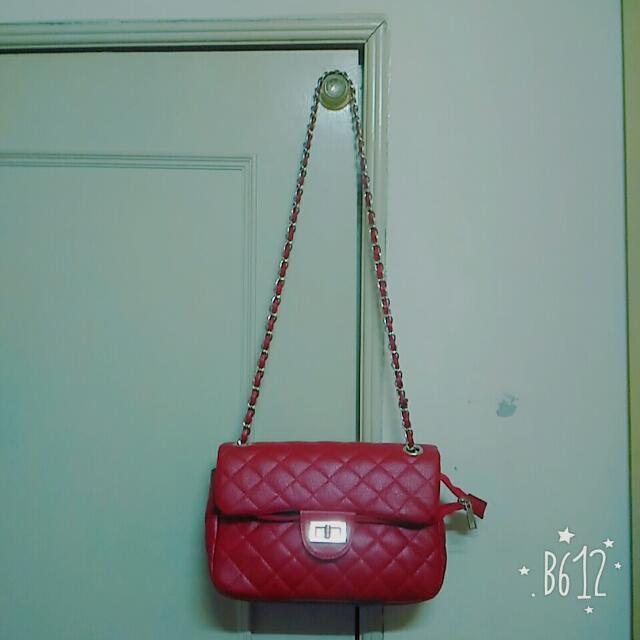 【全新】Chanel風 紅色菱格紋鏈條肩背包 手提包