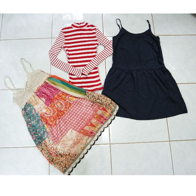 Floral beach dress, Indigo blue dress Uniqlo, Stripes long sleeve Dotti