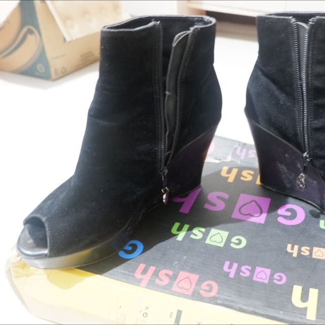 Gosh Black Boots Wedges