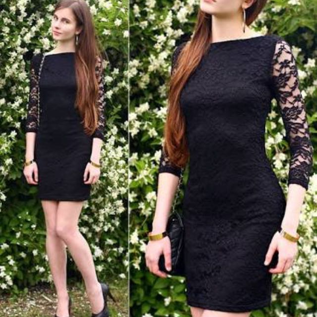 H&M Lace Sleeve Grey Marl Dress