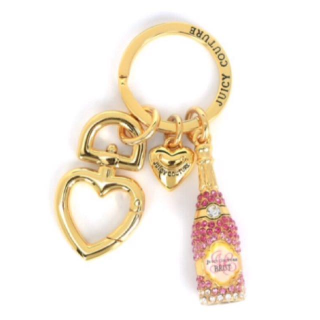 Juicy Couture 經典粉紅水鑽香檳吊飾 鑰匙圈