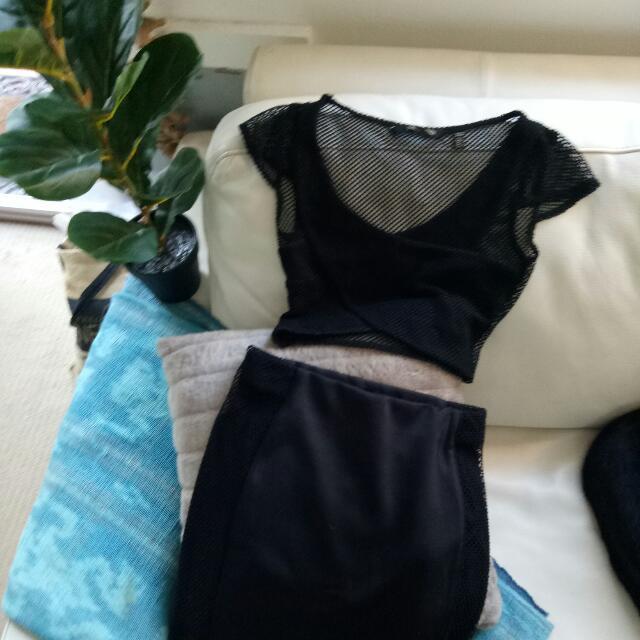 Kardashian kollection mesh skirt & top set