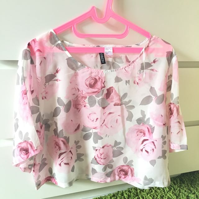 H&M Cropped Pink Floral Top