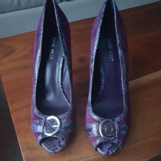 Nine West Purple SuedeAnimal Print Outline Shoes. Size. 7.5