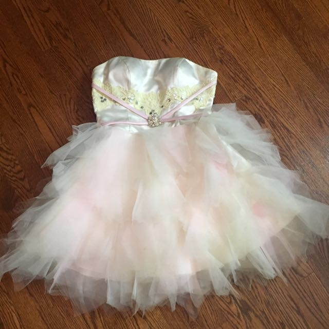 One Of A Kind White / Pink Prom Dress