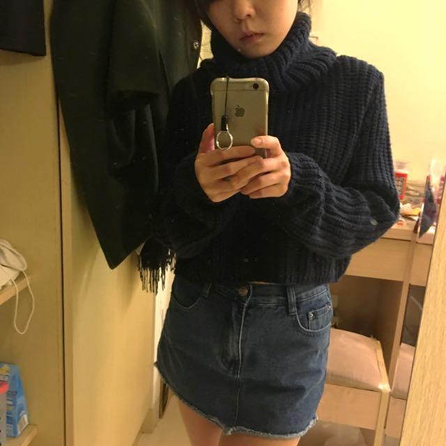 Pazzo 粗毛線 短版甜美高領毛衣