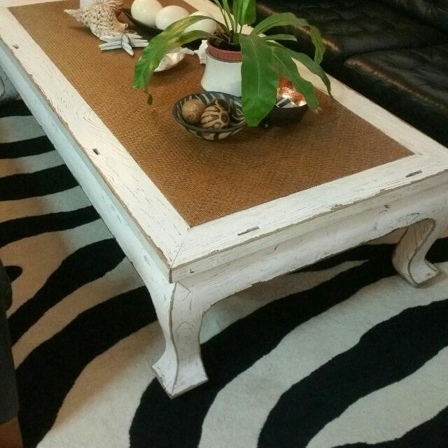 Solid Teak Rustic Huge Coffee Table With Rattan Inlaid, Home U0026 Furniture,  Furniture, Tables U0026 Chairs On Carousell