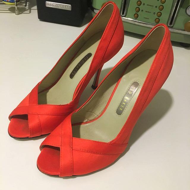 Ted baker Red Satin Peep Toe Heels