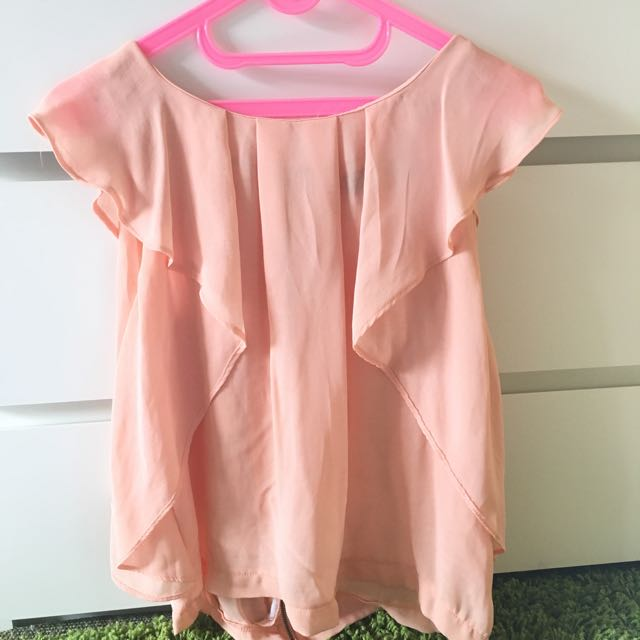 TOPSHOP Peach Ruffle Top