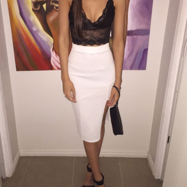 White Midi Skirt Slit