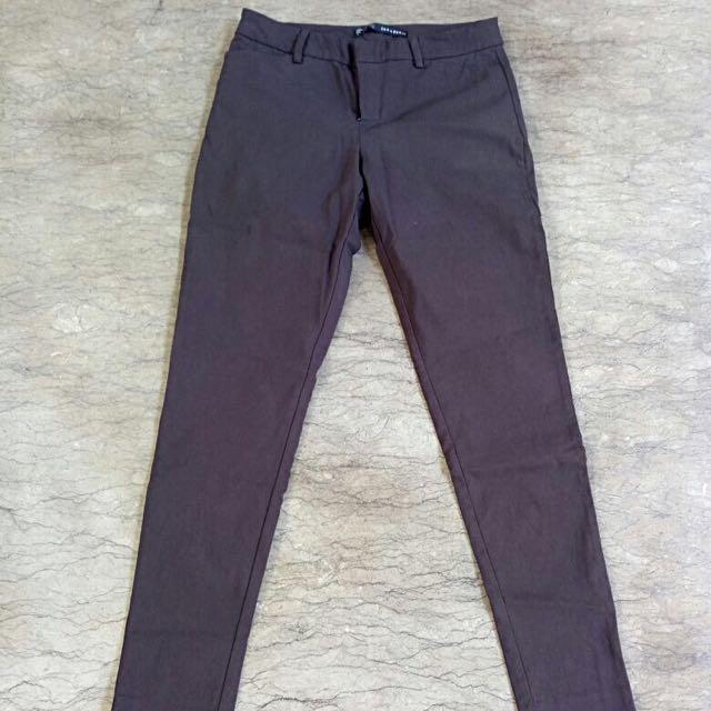 zara trouser celana panjang darkbrown