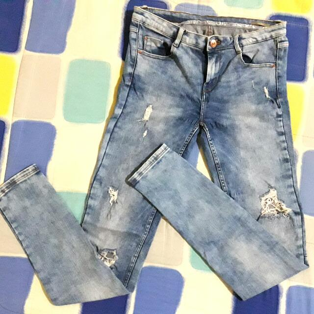 Zara Washed Blue Ripped Jeans