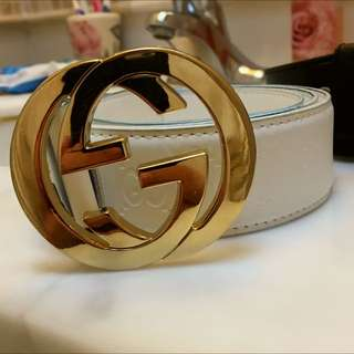 Gucci Belt Gold And White