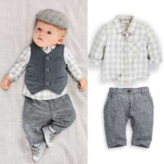 cec8dd517 ✓️STOCK - 3pc PREMIUM GREY CHECKERED LONG SLEEVES SHIRT & PANTS WITH VEST  BABY