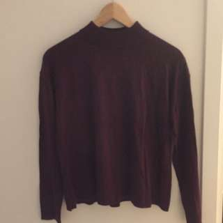 Uniqlo Burgundy Low Turtleneck