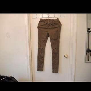 Slit Knees Olive Green Pants