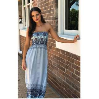 Strapless Blue Aqua Paisley Summer Maxi Dress