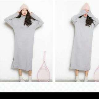 轉賣#灰色針織長版洋裝