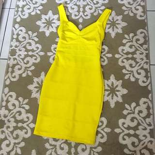 Yellow Backless Bodyfit Dress (size s)