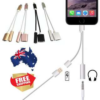 iphone 7/plus 2 in 1 3.5 mm lighting adapter Charger Cabel + Headphones
