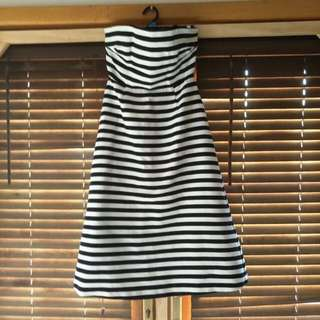 ASOS SIZE 10 Striped Strapless Dress