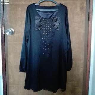 Selling Pre-loved BUT WELL-LOVED Black Long Blouse with Long Sleeves and Studs