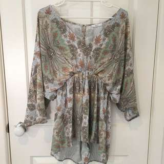 Boho Playsuit With Midi Sleeves