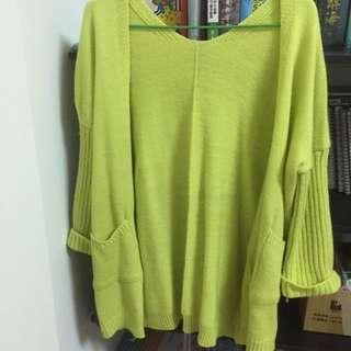 黃色 針織外套