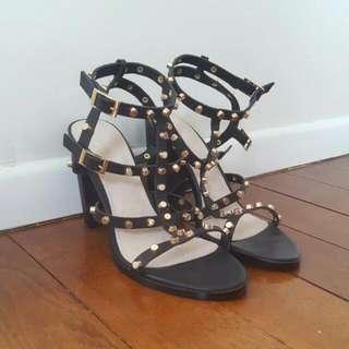 Witchery Black Studded Heels (Size 39)