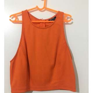Bardot orange crop top