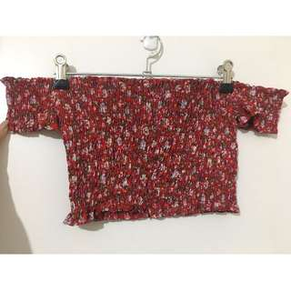 Off the shoulder red floral crop top