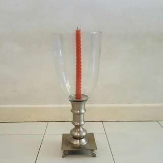 Pewter N Glass Table Candle Stand Holder