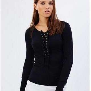 Hansen & Gretel Black Lace Up Top Size 12