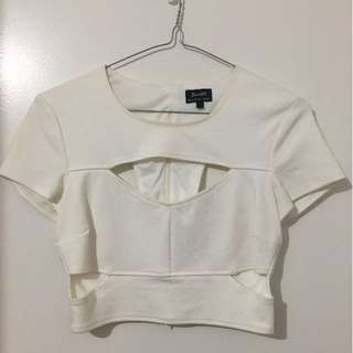 Bardot white cut out crop top