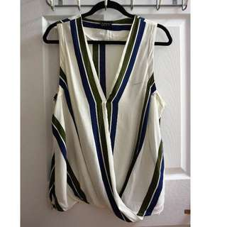 TOPSHOP Striped Crossover V-Neck Blouse (Size 12)
